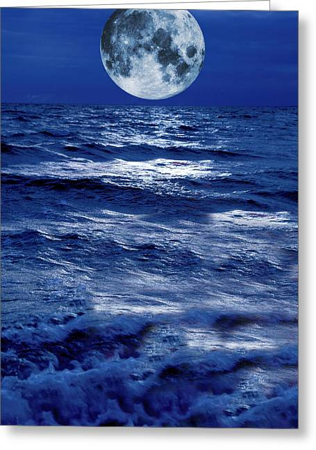Sea Moon Full Moon Greeting Cards - Surreal Moon Rise Over Stormy Waters Greeting Card by Christian Lagereek