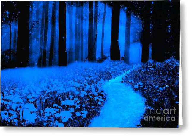 Moonlit Night Greeting Cards - Surreal Moonlight Blue Haunting Dark Fantasy Nature Path Woodlands Greeting Card by Kathy Fornal
