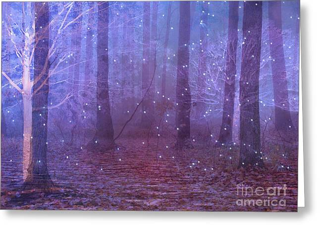 Starlit Greeting Cards - Surreal Nature Fantasy Dreamy Purple Woodlands and Stars - Sparkling Twinkling Stars Purple Trees Greeting Card by Kathy Fornal