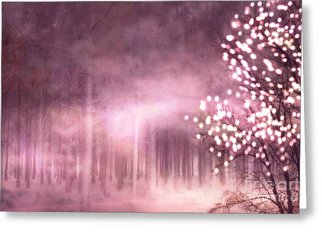 Surreal Pink Nature Prints By Kathy Fornal Greeting Cards - Surreal Nature Trees Sparkling Twinkling Pink Woodlands Trees Greeting Card by Kathy Fornal