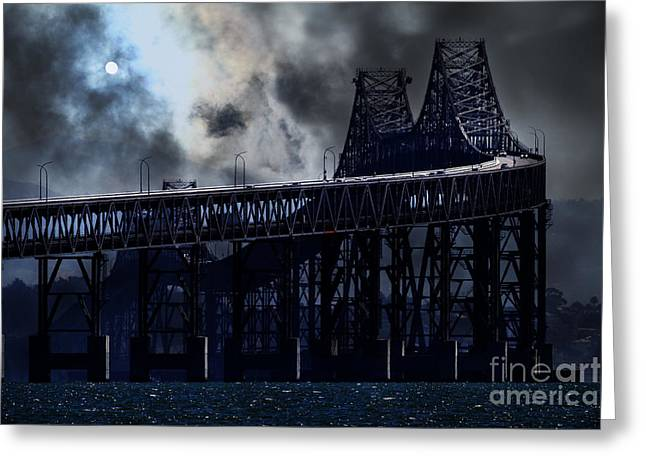 Richmond Bridge Greeting Cards - Surreal Night At The Bay Area Richmond-San Rafael Bridge - 7D18536 Greeting Card by Wingsdomain Art and Photography