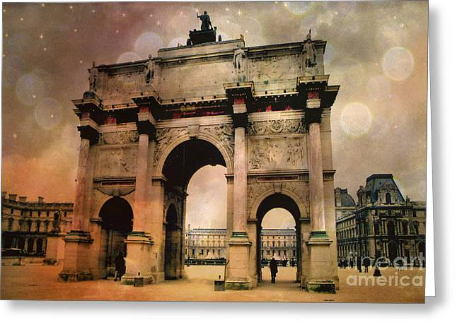 Pyramids Greeting Cards - Surreal Paris Arc de Triomphe Louvre Arch Courtyard Sepia Soft Bokeh Greeting Card by Kathy Fornal