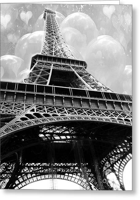 Black White Fine Art Prints Greeting Cards - Surreal Paris Black and White Eiffel Tower with Balloons - Black and White Paris Fine Art Greeting Card by Kathy Fornal