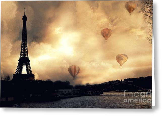Sepia Prints Greeting Cards - Surreal Paris Eiffel Tower Storm Clouds Sunset Sepia and Hot Air Balloons Greeting Card by Kathy Fornal