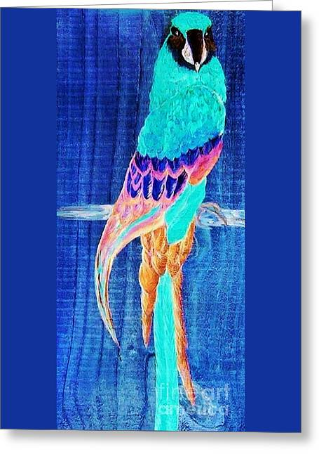 Lavender Greeting Cards - Surreal Parrot Greeting Card by Eloise Schneider