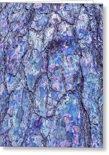 Surreal Patterned Bark In Blue Greeting Card by Gill Billington
