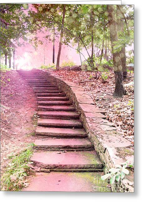 Fantasy Art Greeting Cards - Surreal Pink Fantasy Dream Staircase In Woodlands Forest - Pink Stairs Pathway Greeting Card by Kathy Fornal