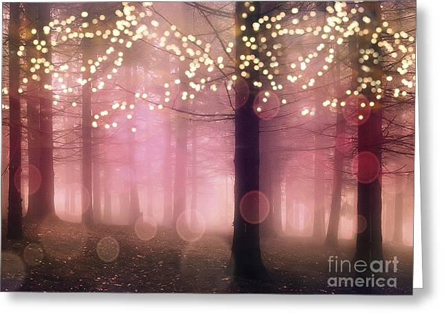 Surreal Pink Fantasy Fairy Lights Sparkling Nature Trees Woodlands - Pink Nature Sparkling Lights Greeting Card by Kathy Fornal