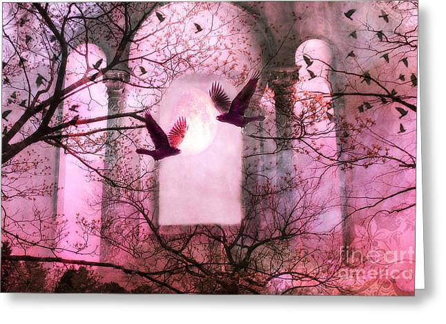 Bird Photography Greeting Cards - Surreal Pink Fantasy Forest Trees Nature With Flying Ravens Greeting Card by Kathy Fornal