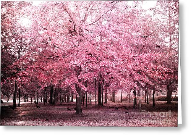Fantasy Tree Art Print Greeting Cards - Surreal Pink Tree Landscape - South Carolina Pink Nature Landscape Greeting Card by Kathy Fornal