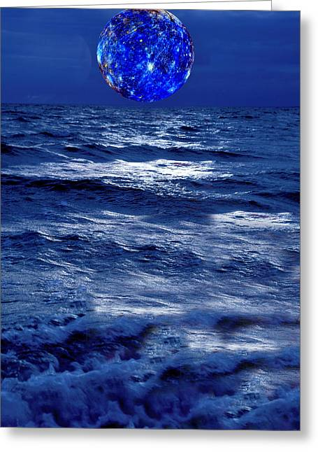 Sea Moon Full Moon Greeting Cards - Surreal Planet Rising Over Blu Waters Greeting Card by Christian Lagereek
