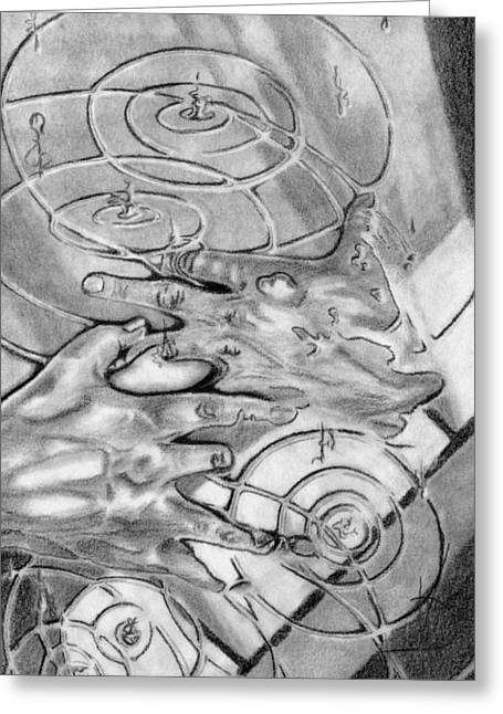 Puddle Drawings Greeting Cards - Surreal Poetry Greeting Card by Kd Neeley