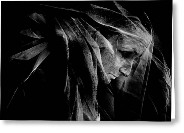 Black Veil Greeting Cards - Surreal portrait Greeting Card by Wojciech Zwolinski