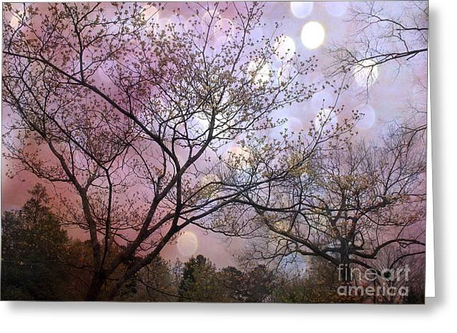 Nature Photo Framed Print Greeting Cards - Surreal Purple Fantasy Trees Ethereal Nature Greeting Card by Kathy Fornal