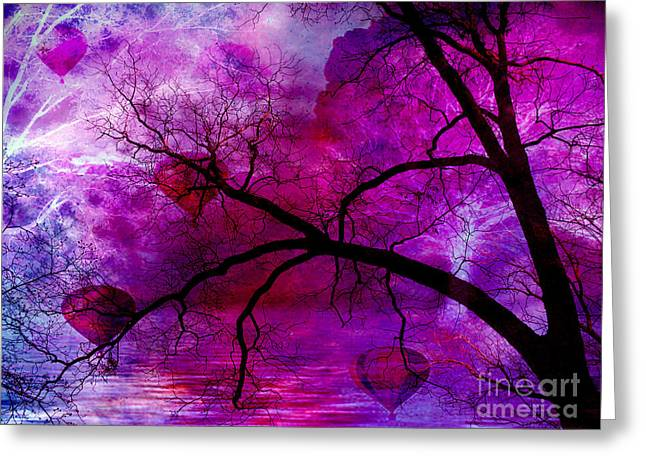 Fantasy Tree Photographs Greeting Cards - Surreal Purple Pink Trees Hot Air Balloons Greeting Card by Kathy Fornal