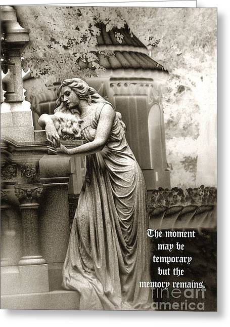 Gravestone Greeting Cards - Surreal Romantic Female Cemetery Mourner At Grave Greeting Card by Kathy Fornal