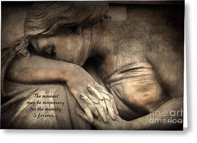 Weeping Photographs Greeting Cards - Surreal Sad Angel Cemetery Mourners at Grave With Inspirational Message of Memories Greeting Card by Kathy Fornal