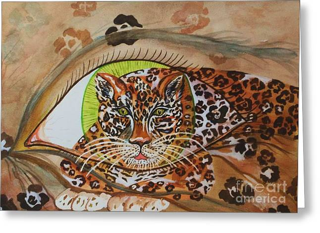 Beige Abstract Greeting Cards - Surreal- Shamans Eye- Shapeshifting Jaguar Greeting Card by Ellen Levinson