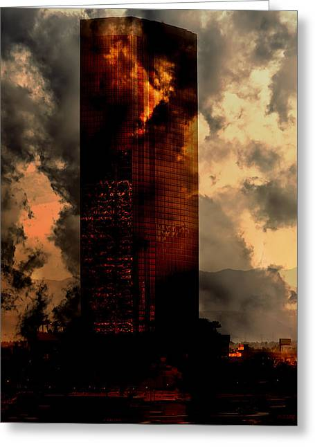 Wolkenkratzer Greeting Cards - Surreal Sky Scraper Greeting Card by Gunter Nezhoda