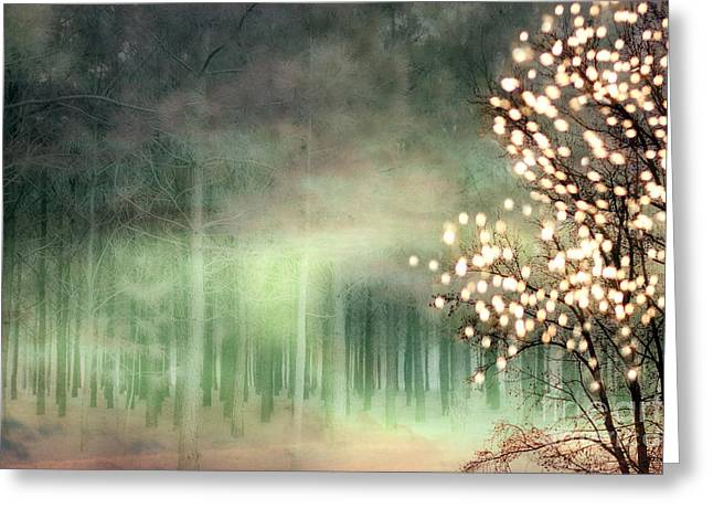 Surrealism Greeting Cards - Surreal Sparkling Fantasy Nature - Green Sparkling Lights Trees Forest Woodlands Greeting Card by Kathy Fornal