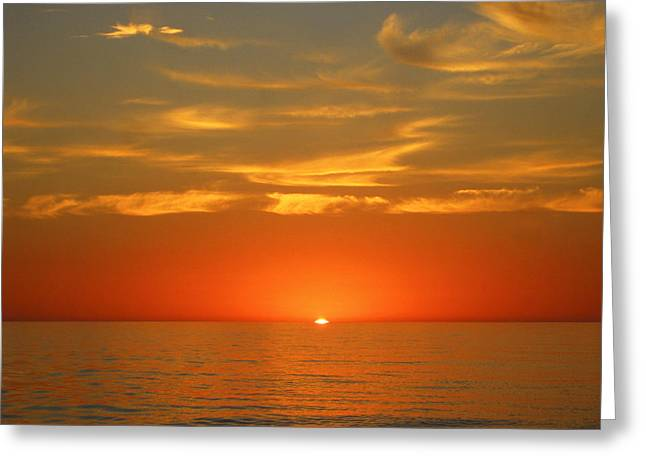 Reflection Of Sun In Clouds Greeting Cards - Surreal Sunrise At Sea II Greeting Card by Anne Mott