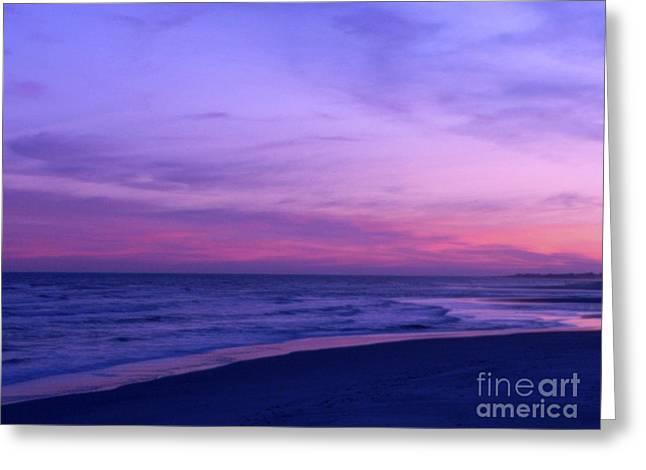 Atlantic Ocean Beach Photos Greeting Cards - Surreal Sunset Greeting Card by Al Powell Photography USA