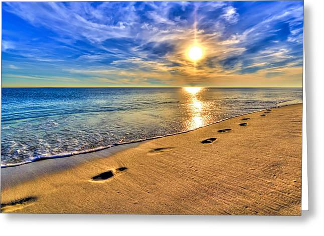 Reflections Of Sun In Water Greeting Cards - Surreal Sunset on the Beach Greeting Card by Five Star Photographics