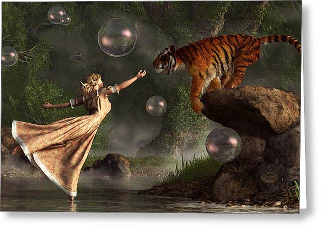 Tiger Dream Greeting Cards - Surreal Tiger Bubble Waterdancer Dream Greeting Card by Daniel Eskridge