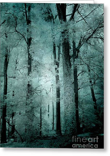 Dark Green Greeting Cards - Surreal Trees Fantasy Dark Eerie Haunting Teal Green Woodlands Forest - Lost In The Woods Greeting Card by Kathy Fornal