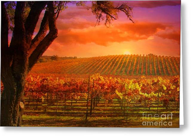 Fall Vineyard Greeting Cards - Surreal Vineyard Greeting Card by Stephanie Laird