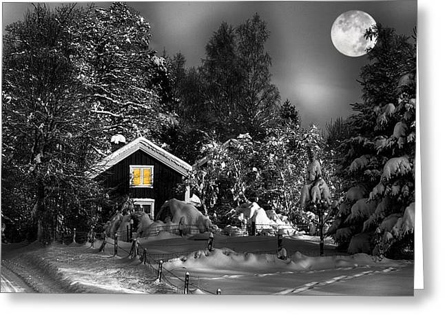 Snow Scape Greeting Cards - Surreal Winter Landscape With Moonlight Greeting Card by Christian Lagereek