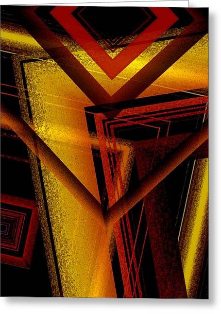 Surrealist Geometry With Brightness And Shadows Greeting Card by Mario Perez