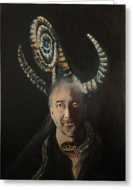 Statue Portrait Paintings Greeting Cards - Surrealist man portrait with horns and snake Greeting Card by Magdalena Walulik