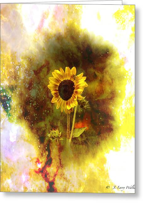 Masking Digital Art Greeting Cards - Surrealistic Sunflower Artistry Greeting Card by J Larry Walker
