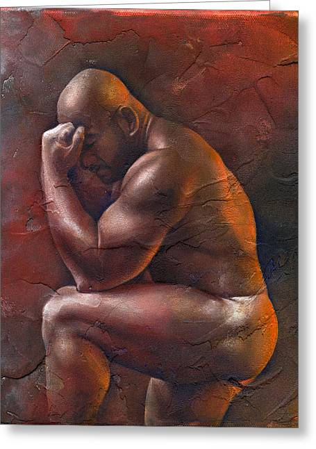 Men Mixed Media Greeting Cards - Surrender 2 Greeting Card by Chris  Lopez