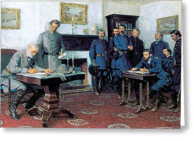 Civil Greeting Cards - Surrender at Appomattox Greeting Card by Tom Lovell