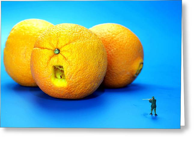 Children Story Book Digital Greeting Cards - Surrender Mr. Oranges little people on food Greeting Card by Paul Ge