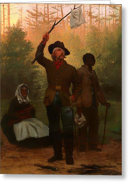 Confederate Flag Paintings Greeting Cards - Surrender of of a Confederate Soldier Greeting Card by Julian Scott