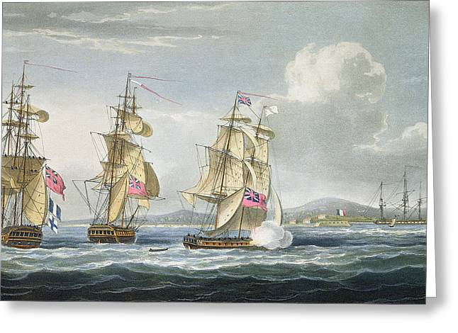 Sailing Ship Drawings Greeting Cards - Surrender Of The Fort Of Tamatave Greeting Card by Thomas Whitcombe
