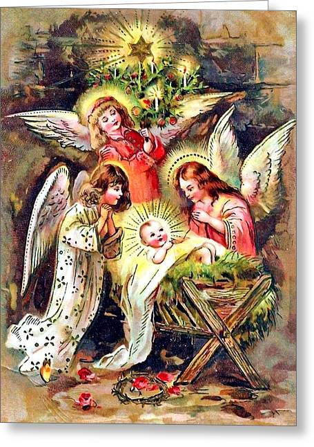 Christmas Greeting Photographs Greeting Cards - Surrounded by Angels Greeting Card by Munir Alawi