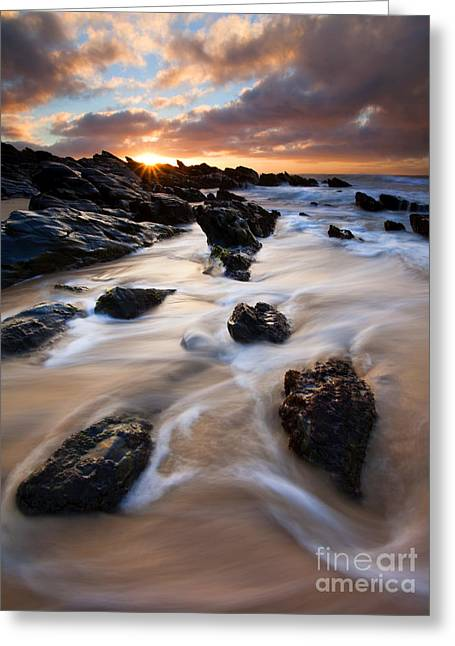 Seascapes Greeting Cards - Surrounded by the Tides Greeting Card by Mike  Dawson