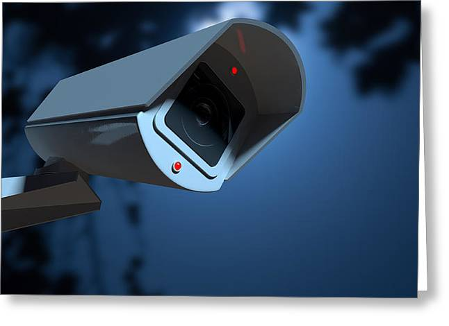 Big Brother Greeting Cards - Surveillance Camera In The Night-time Greeting Card by Allan Swart