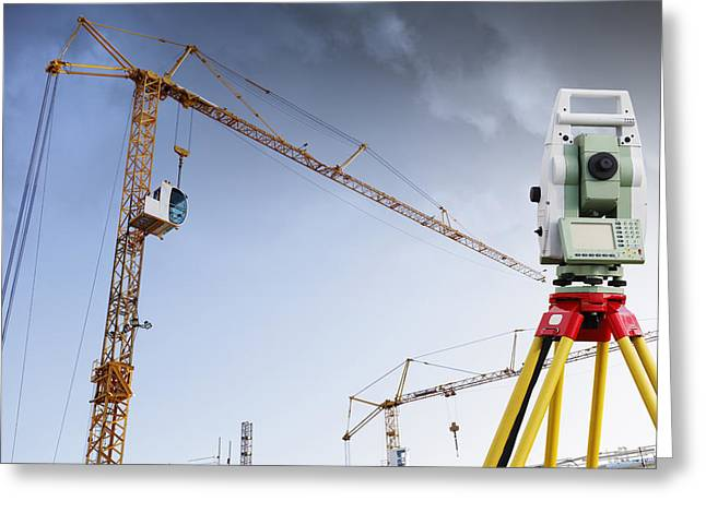 surveying instrument for construction industry Greeting Card by Christian Lagereek