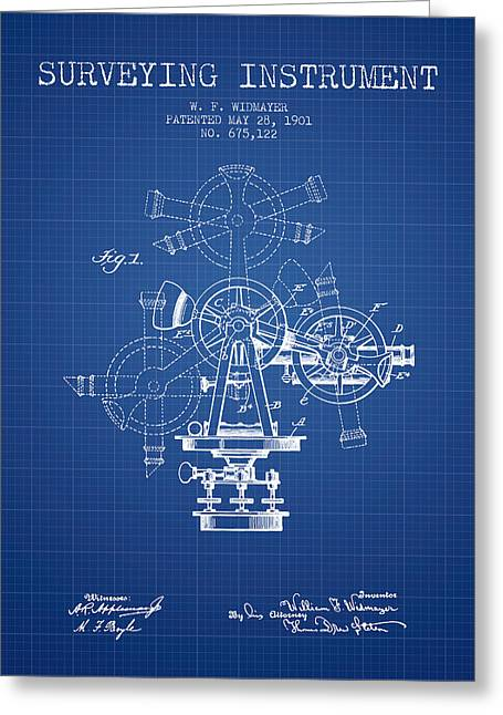 Surveying Greeting Cards - Surveying Instrument Patent from 1901 - Blueprint Greeting Card by Aged Pixel