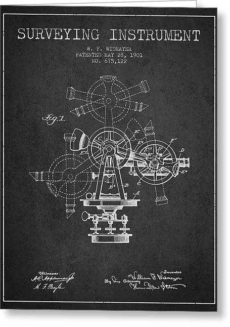 Surveying Greeting Cards - Surveying Instrument Patent from 1901 - Charcoal Greeting Card by Aged Pixel