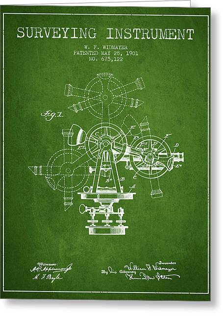Surveying Instrument Patent From 1901 - Green Greeting Card by Aged Pixel