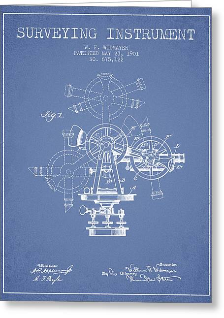 Surveying Greeting Cards - Surveying Instrument Patent from 1901 - Light Blue Greeting Card by Aged Pixel