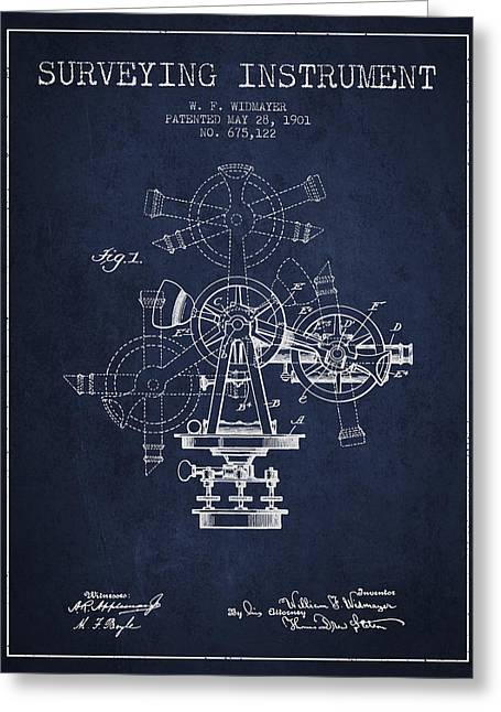 Surveying Greeting Cards - Surveying Instrument Patent from 1901 - Navy Blue Greeting Card by Aged Pixel