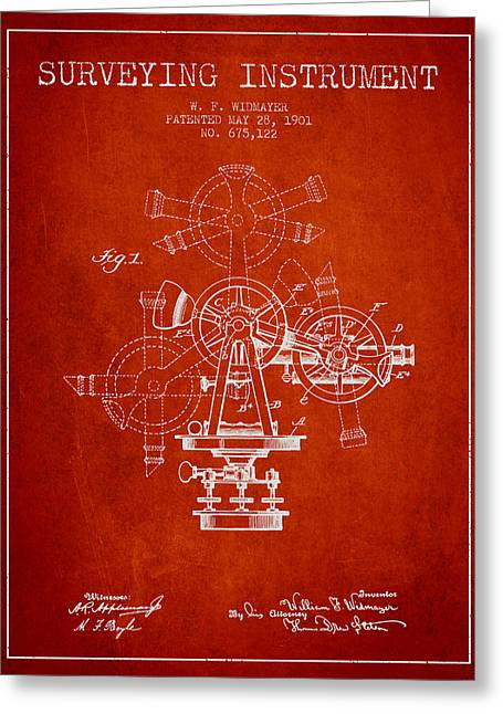 Surveying Instrument Patent From 1901 - Red Greeting Card by Aged Pixel