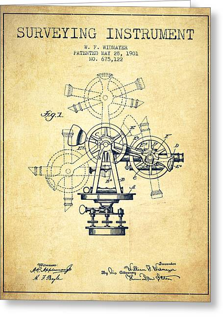 Land Surveyor Greeting Cards - Surveying Instrument Patent from 1901 - Vintage Greeting Card by Aged Pixel